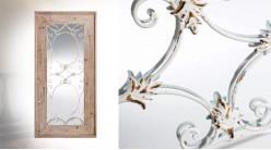 Grand miroir fenêtre de 150cm, en bois de spain et métal effet fer forgé, ambiance campagne