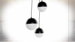 Suspension luminaire à 3 feux en métal finition noire ambiance moderne, 80cm