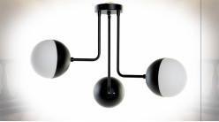 Suspension luminaire à 3 feux en métal finition noire de style moderne, 61cm