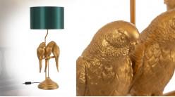 Grande lampe à poser en résine dorée, trio de perroquets sur perchoir, ambiance tropicalo chic, 79cm