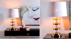 Lampe à poser en verre et métal doré, ambiance contemporaine, abat jour en lin blanc, 62cm