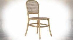 Chaise en bois de bouleau et cannage de rotin finition naturelle ambiance rétro, 87cm