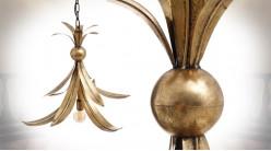 Suspension en zinc en forme de feuille, finition doré effet ancien, ambiance chic, Ø65cm