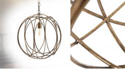 Suspension sphérique en métal ajouré, entrelacement de cercles finition doré ancien, Ø49cm