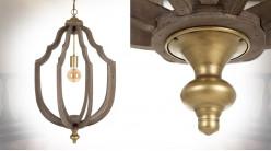 Suspension en bois brut et métal doré, de style classique esprit cage, Ø45cm