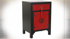 Table de chevet en bois de sapin finition noire et rouge coquelicot ambiance Japonaise, 66cm