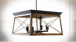 Suspension luminaire à 4 feux en bois et métal ambiance industrielle, 130cm