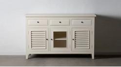 Buffet en bois de mindi, 3 portes et 3 tiroirs, finition blanc antique, ambiance vieille campagne shabby, 136cm