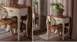 Console en bois finition crème de style classique, 2 tiroirs et plateau aspect naturel, 90cm