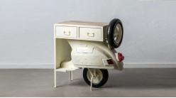 Meuble bar Vespa, en bois et métal finition crème vieillie, partie arrière du véhicule, 2 tiroirs, 100cm