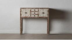 Grande console en bois sculpté, 4 portes et 3 tiroirs, finition blanchie et naturelle, 95cm