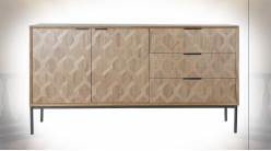Buffet en bois finition naturelle ambiance rétro, 144cm