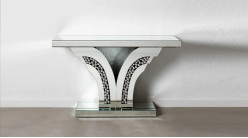 Console miroir en forme de V, style moderne contemporain ambiance lumineuse, 120cm
