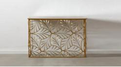 Console d'entrée en métal et plateau miroir, piètement en feuilles modernes finition dorée effet brossé, 120cm