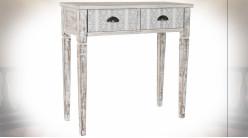 Console à 2 tiroirs en bois finition naturelle blanchie ambiance Boho, 82cm