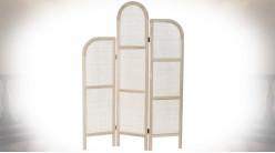 Paravent en cannage de rotin et bois finition naturelle blanchie ambiance rétro, 170cm