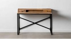 Bureau d'appoint en bois de manguier brut et métal charbon, ambiance indus atelier, 120cm