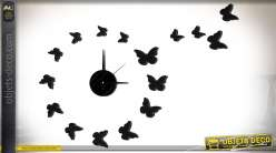 Horloge en sticker 17 éléments à motifs d'ombres de papillons Ø 60 cm