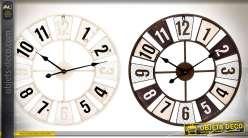 Duo d'horloges murales Ø 60 cm de style rétro et indus. noir et blanc
