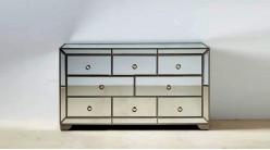 Commode habillée miroir à huit tiroirs, en bois et verre, ambiance raffinée élégante, 140cm