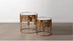 Série de 2 tables auxiliaires rondes en métal doré et plateau en verre, ambiance contemporaine chic, Ø60/50