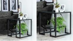 Table d'appoint cubique en métal charbon et verre trempé, ambiance géométrique moderne, 60cm