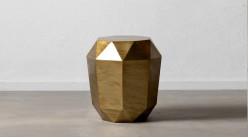 Table d'appoint moderne en métal finition doré ancien, ambiance géométrique forme 3D, Ø47cm