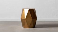 Table d'appoint octogonale en métal, finition doré brossé, ambiance géométrique moderne, Ø46,5cm