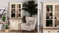 Vitrine vaisselier à quatre portes et deux tiroirs, en bois de paulownia finition crème et naturelle, ambiance campagne, 195cm