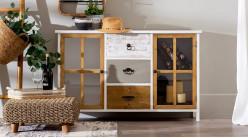 Buffet d'appoint deux portes et trois tiroirs, en bois de sapin finition tricolore, ambiance moderne, 120cm