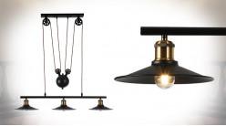 Grande suspension en métal finition noir charbon, 3 feux, poulies et contrepoids, ambiance indus, 90cm