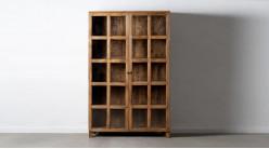 Vitrine deux portes en bois de manguier massif, finition naturelle juste cirée, ambiance rustique, 194cm