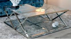 Grande table basse carrée de salon, en métal chromé argent et verre épais, ambiance moderne épurée, 115cm