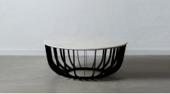 Grande table basse Ø90cm ronde en métal charbon et marbre blanc, ambiance chic contemporaine
