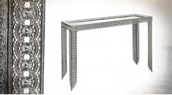 Console d'entrée en métal moucharabieh, finition brillante chromée et plateau miroir, ambiance orientale, 120cm