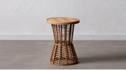 Table d'appoint en bambou tressé, de forme ronde finition naturelle et plateau effet caillebotis, Ø35cm