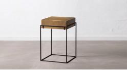 Table d'appoint carrée en métal, structure aérienne charbon et plateau creux doré ancien, 60cm