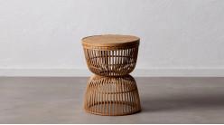 Table d'appoint ronde en rotin tressé, finition naturelle ambiance coloniale rétro, Ø40cm