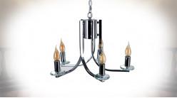 Lustre cinq feux en métal chromé et verre ciselé, ambiance contemporaine épurée, Ø45cm