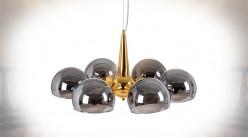 Suspension moderne en métal et globes en verre, finition dorée et argentée brillantes, Ø60cm