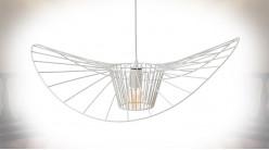 Suspension libellule Ø72cm en métal finition blanc mate, ambiance moderne, hauteur ajustable
