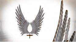 Support bougie mural en métal, paire d'ailes finition gris antique décapé et laiton doré, 51cm