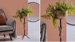 Cache-pot jardinière sur tripode, en métal charbon et doré ancien, ambiance chic, 78cm