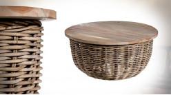 Table basse en rotin tressé et plateau en teck, amovible, finition naturelle, Ø70cm