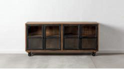Buffet quatre portes en bois de manguier massif, ambiance industrielle, finition naturelle et charbon, 160cm