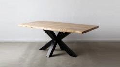 Table en acacia massif et pied central en croix, finition naturelle et acier charbon noir, 200cm
