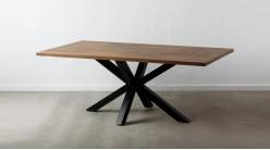 Table en manguier massif et pied central croisé, finition naturelle et acier charbon noir, 200cm