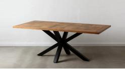 Table en manguier massif et pied central en croix, plateau effet damier finition naturelle et charbon noir, 200cm
