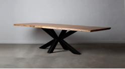 Table de 300cm en acacia massif et pied central en croix, finition naturelle et charbon noir