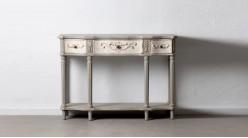 Console classique en bois de sapin, finition gris antique, trois tiroirs, 120cm